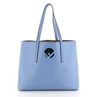 Fendi Logo Shopper Tote Blue Leather Handbags