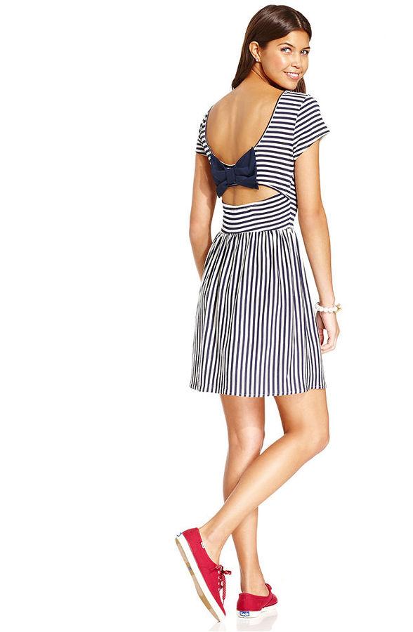 Keds Juniors Dress, Short Sleeve Striped Bow-Back