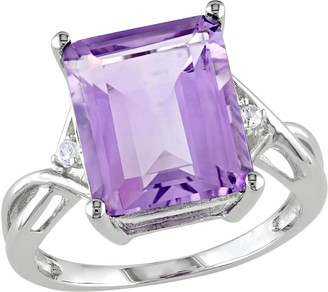 Sterling Silver 5.90 cttw Amethyst & White Topaz Cocktail Ring