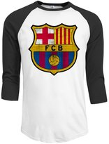 Agongda T-shirts Men's Invincible FC Barcelona Logo 3/4 Sleeve Raglan T-Shirt