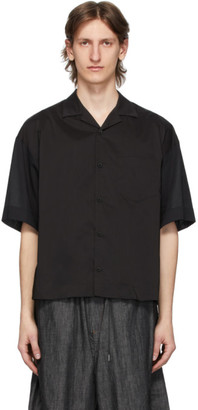 Fumito Ganryu Black Open Collar Combination Shirt