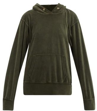 LES TIEN Cotton-blend Velour Hooded Sweatshirt - Khaki
