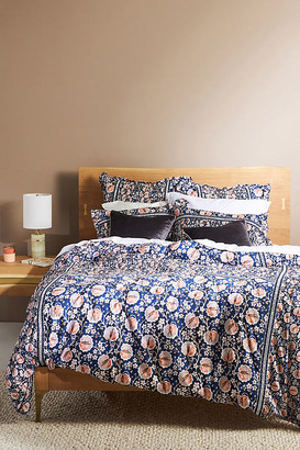 Anthropologie Embellished Windflower Duvet Cover By in Blue Size Q top/bed