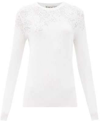 Givenchy Floral-pointelle Rib-knitted Sweater - White