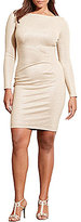 Lauren Ralph Lauren Plus Metallic Round Neckline Long Sleeve Jersey Dress