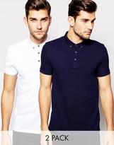 Asos 2 Pack Pique Polo Shirt In Navy/White