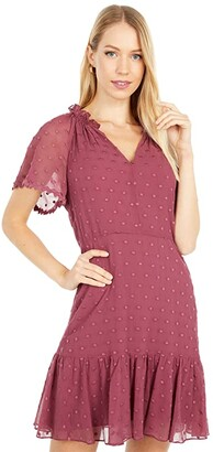 Rebecca Taylor Short Sleeve Dot Embroidery Dress (Jam) Women's Dress