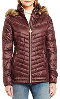 MICHAEL Michael Kors Faux-Fur Hood Chevron Down Packable Coat