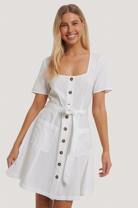 NA-KD Square Neck Linen Look Dress