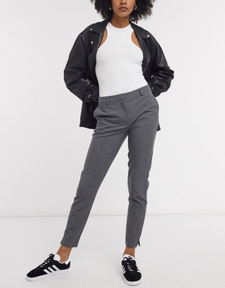 Selected cropped slim trousers in grey