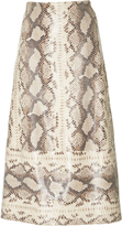 Zeynep Arcay Snake Print Leather Skirt