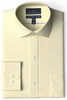 Buttoned Down Men's Standard Classic Fit Spread-Collar Pinpoint Non-Iron Dress Shirt