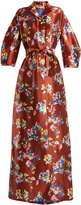 DELPOZO Notch-lapel floral-print silk gown