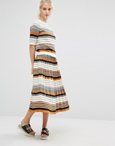 Monki Stripe Midi Skirt