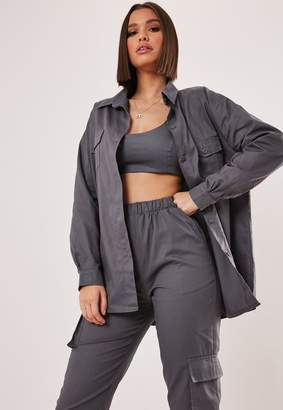Missguided Grey Co Ord Oversized Shirt