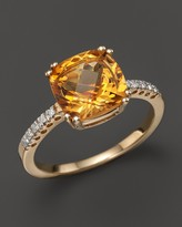Bloomingdale's Citrine Cushion Ring with Diamonds in 14K Yellow Gold
