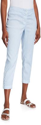 120% Lino Stretch Button-Cuff Zip-Fly Capri Pants