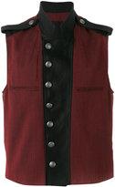 Ann Demeulemeester epaulette detail waistcoat - men - Cotton/Linen/Flax/Nylon/Virgin Wool - S
