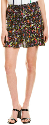 Derek Lam 10 Crosby Flounce Silk-Blend Mini Skirt