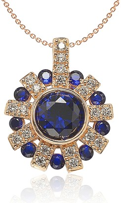 Rose Gold Plated Sterling Silver Sapphire and Diamond Accent Starburst Pendant Necklace