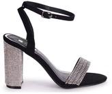 Linzi GEORGIE - Black Suede Diamante Embellished Block Heel