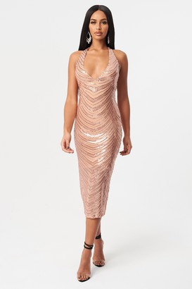 Topshop Rose Gold Halter Neck Dress by Club L