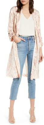 Cupcakes And Cashmere Neptune Snakeprint Satin Trench Coat