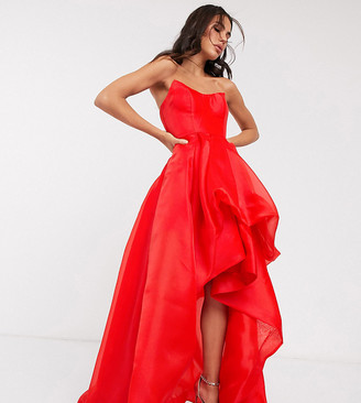 Bariano exclusive bandeau high low organza maxi dress in red