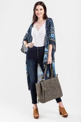 francesca's Maya Scarf Print Kimono - Blue