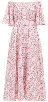 Gül Hürgel Floral Off-the-shoulder Linen Dress - Womens - Pink Print