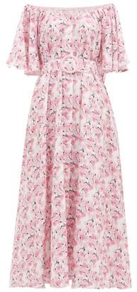 Gül Hürgel Floral Off-the-shoulder Linen Dress - Pink Print