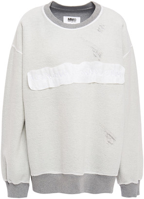 MM6 MAISON MARGIELA Embroidered Distressed French Cotton-terry Sweatshirt