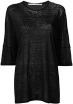 Isabel Benenato three-quarters sleeve sheer T-shirt - women - Linen/Flax - 38