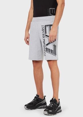 Ea7 Jersey Fleece Shorts With Maxi Logo