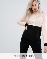 Noisy May Petite Contrast Cable Knit Jumper