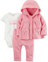 Carter's 3-Pc. Hoodie, I Heart Mommy Bodysuit & Pants Set, Baby Girls (0-24 months)