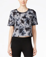 Kensie Short-Sleeve Tie-Dyed Crop Top