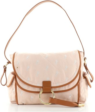 Chloé Diaper Bag Embroidered Canvas Large