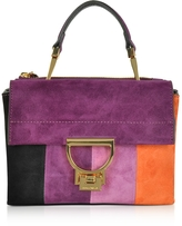 Coccinelle Arlettis Stripes Patch Suede Shoulder Bag