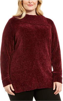 Karen Scott Plus Size Chenille Split Neck Pullover