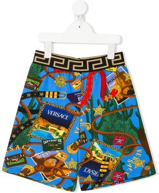 Versace Graphic-Print Track Shorts