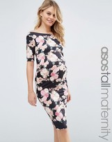 Asos TALL Bardot Dress With Half Sleeve in Pink Floral Print