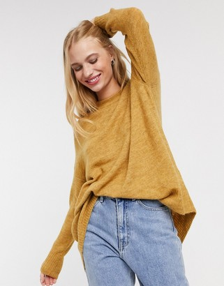 Only mirna long sleeve jumper in yellow