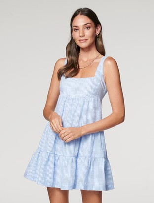 Forever New Liberty Gingham Babydoll Dress - Blue Gingham - 10