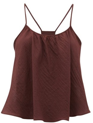 Loup Charmant Scoop-neck Cotton Cami Top - Womens - Dark Purple