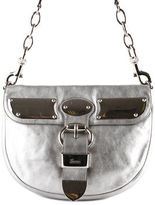 Gucci Silver Metallic Leather Chain Strap Shoulder Handbag New BC14526GUC MHL
