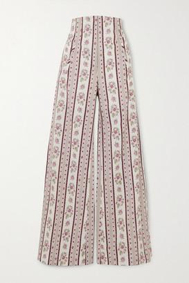 ANNA MASON Beau Floral-print Cotton Wide-leg Pants - Gray