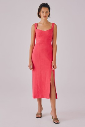 C/Meo CLEAR MESSAGE MIDI DRESS hot pink