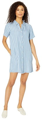 Mod-o-doc Stripe Tencel Denim Short Sleeve A-Line Dress with Frayed Hem (Blue) Women's Dress