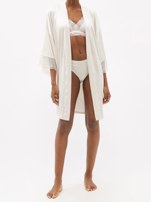 Thumbnail for your product : Hanro Irini Lace-trim Jersey Robe - Ivory